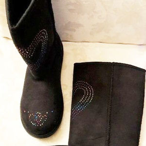 Airwalk girls new size 4M boots with lights black